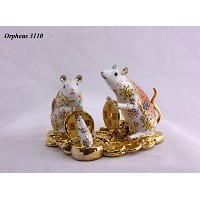 Feng Shui Mouses -Hand Crafted and Decorated Porcelain,figurine D050101 (Orange)