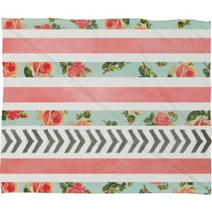 "Allyson Johnson Floral Stripes and Arrowsフリーススローブランケット Medium 60"" X 50"" 39102-flemed"