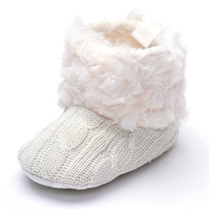 Annnowl Baby Girls Knit Soft Fur Winter Warm Snow Boots Crib Shoes (6-12 Months, White) by Annnowl