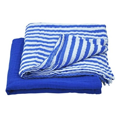green sprouts Muslin Swaddle Blankets made from Organic Cotton,Royal Blue Set by green sprouts