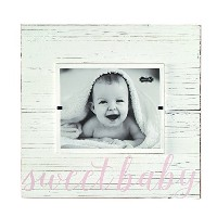 Mud Pie Sweet Baby Deluxe Wood Frame Nursery D?cor, Pink, 8 x 10 by Mud Pie