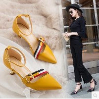 The new female pointed fine with high heels wild one word buckle with the womens shoes cat heels