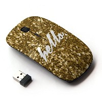 KOOLmouse [ ワイヤレスマウス 2.4Ghz無線光学式マウス ] [ Hello Gold Bling Sparkle Text White ]