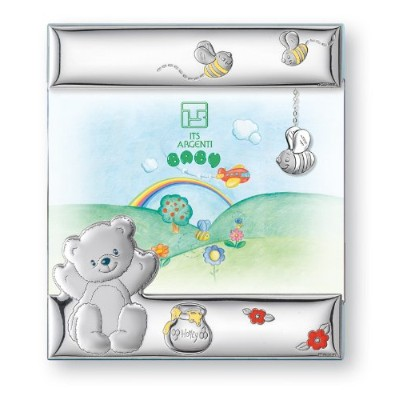 Silver Touch USA Sterling Silver Bear Honey and Bees Picture Frame, Blue by Silver Touch USA