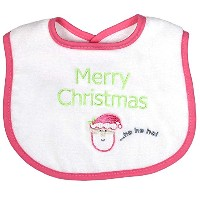 Raindrops Merry Christmas Embroidered Bib, Hot Pink by Raindrops