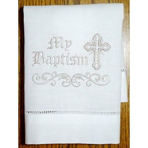 Integrity Designs Linen Baptism/Christening Cloth, White with Silver Embroidery, 100% Linen, 12 x...