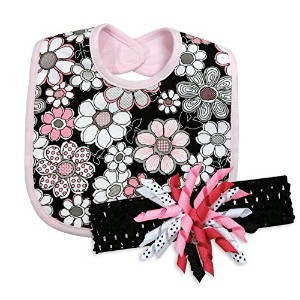 Stephan Baby Bib and Curly Bow Headband Gift Set, Black and Pink Vintage Petal by Stephan Baby