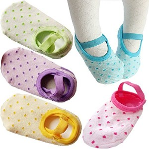 FlyingP 5Pairs Toddler Anti Slip Socks for 8-36 Months Infants Baby Girl Mary Jane No-Show Crew...