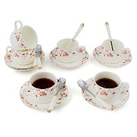 Porcelain Tea Cup and Saucerコーヒーカップセットwith Saucer andスプーン18 pc、6のセットtc-zsmg
