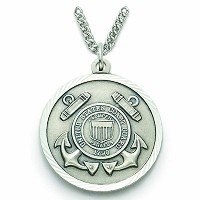 スターリングシルバーUnited States Coast Guard medal with Saint Michael Back、7 / 8インチ
