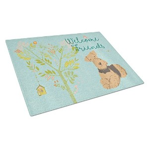 Caroline 's Treasures bb7625lcb Welcome Friends Airedale Terrier Chopping Board、L、マルチカラー