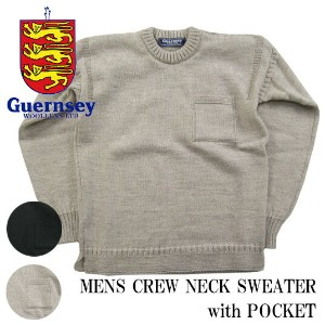 GUERNSEY WOOLLENS フィッシャーマンセーター クルーネック with ポケット ガンジーウーレンズ MENS CREW NECK width POCKET G16FK-09M