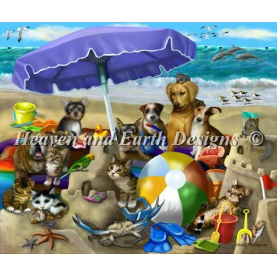 【DM便対応】Heaven And Earth Designs(HAED)クロスステッチ Beach Buds Day チャート Mary Thompson 刺しゅう アメリカ 図案 海 猫 犬...