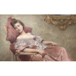 油絵 Samuel Melton Fisher_眠り