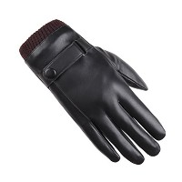 Zhhlinyuan 良質 Fashion Mens Cycling Warm Touchscreen Gloves 冬 Outdoor PU Leather 防風 Gloves