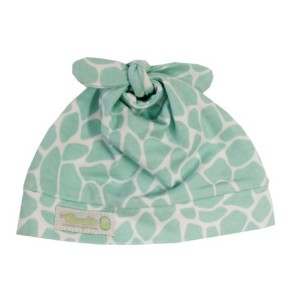 Woombie Cotton Knotted Beanie Baby Hat ~ One size fits 0-6M (Blue Giraffe) by Woombie