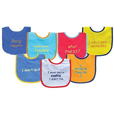 Luvable Friends 7 Piece Bold Sayings Bibs, Blue by Luvable Friends