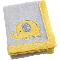 Little Bedding by Nojo Elephant Time Applique Coral Blanket, Yellow by NoJo