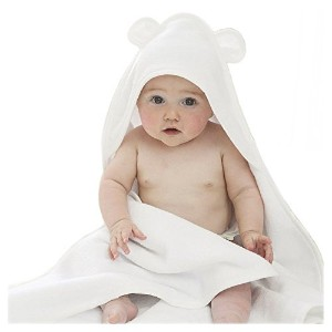 Bamboo Baby Hooded Towel with Bear Ears- Organic, Hypoallergenic, Soft, Sized for Infant and Toddler by Happy Baby Skin