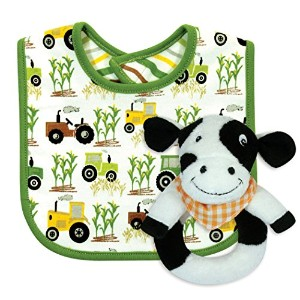 Stephan Baby Down on The Farm Bib and Plush Ring Rattle Gift Set, Cow by Stephan Baby