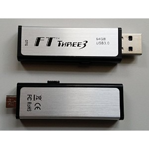 FT Three3™ Silver Stone OTG 64GB USB 3.0/2.0ドライブ、 USB3.0メモリ 永久保証