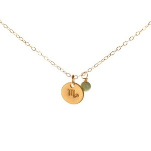 Scorpioネックレス – Tiny Gold Filled Simple Zodiac Sign with誕生月チャーム、ゾディアックペンダント
