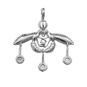 Greek Ancient Minoan Bees Pendant In Sterling Silver Pendant, 30mm