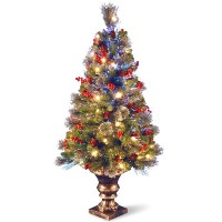 Nationalツリー4足光ファイバーCrestwood Spruce Tree withコーン、Glitter and red berries inゴールドポット( szcw7–105l-40...