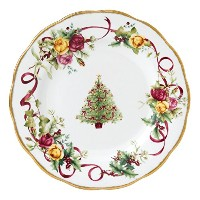 Royal Albert Old Country Roses Christmas Tree Salad Plate, 8-Inch [並行輸入品]