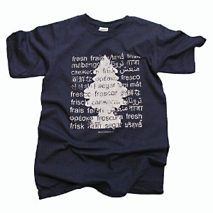 "リトルツリー (Little Tree) Tシャツ "" FRESH IN MULTIPLE LANGUAGES "" PIGMENT T-SHIRTS NAVY BLUE"
