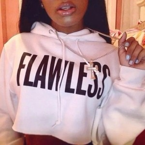 Flawless Letter Print Plus Size Long Sleeve White Cropped Sweater Hoodie (Size: L・ Color: White)