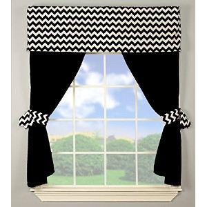 Baby Doll Bedding Chevron Window Valance and Curtain Set, Black by BabyDoll Bedding