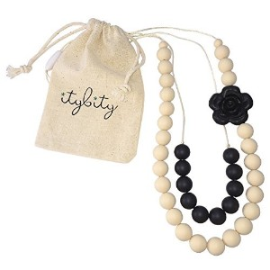 Baby Teething Necklace for Mom, Silicone Chew Beads, 100% BPA Free(Black/Cream) by Itybity