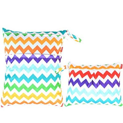 Damero 2pcs Pack Travel Baby Wet and Dry Cloth Diaper Organizer Bag, Colorful Chevron by Damero