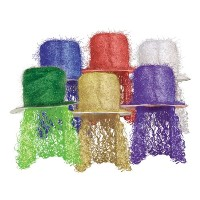 Tinsel Top Hat w / Curly Wig ( Asstd色) Party Accessory ( 1 Count ) ( 1 / Pkg )