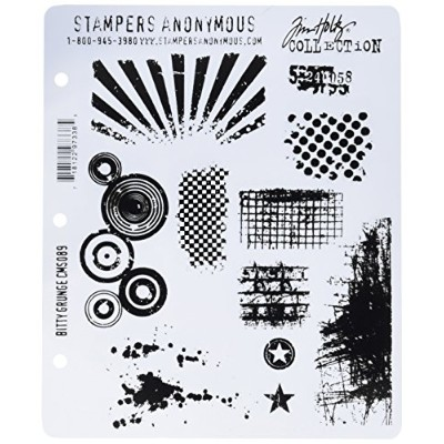 Stampers Anonymous Tim Holtz Large Cling Rubber Stamp Set, Bitty Grunge by Stampers Anonymous