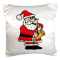 "All Smilesアートクリスマス – Funny Santa Claus Playing Saxophoneクリスマスアート – 枕ケース 16 x 16"" pc_200110_1"