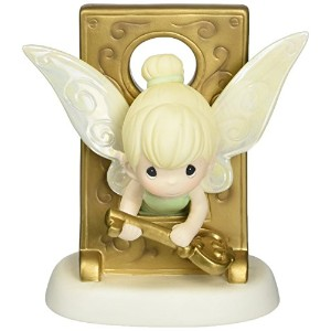 Precious Moments、誕生日ギフト、Disney Tinker Bellでキー穴Figurine、磁器Bisqueフィギュア、153013by Precious Moments