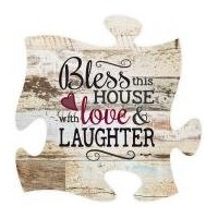 Bless This House With Love & Laughter Distressed 12x 12WoodウォールアートパズルピースPlaque