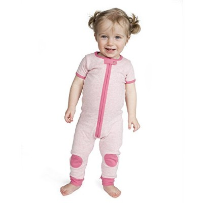 Baby Deedee Short Sleeve 1 Piece Footless Romper Pajama, Heather Pink, 12-18 Months by baby deedee