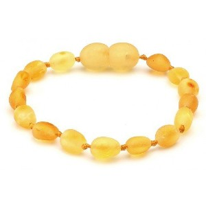 Raw Baltic Amber Baby Bracelet/Anklet Oval Beans Lemon RBTB45 By Amber Corner by Amber Corner