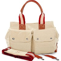 Diaper Bag by Babyboo - with Changing Pad and Stroller Strap - Baby Bag - Beige Red - Cute Designer...