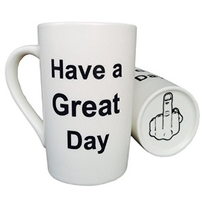 mauag面白いクリスマスギフト–面白いセラミックコーヒーマグHave A Great Day With Middle Finger on the bottom Funny磁器カップ、Best...