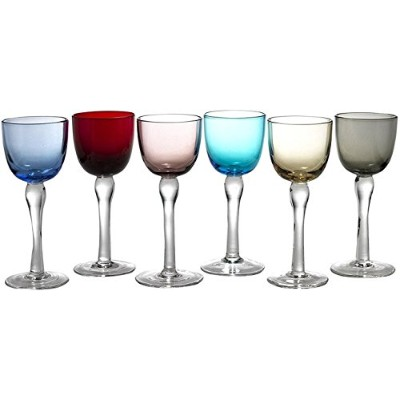 Circleware Splendour Set of 6 Multi Colour Glass Cordial Glasses with Clear Stems, 60ml
