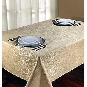 Regal Home Collections Laura Rose Damask Oblong (Rectangle) Tablecloth, 60-Inch Wide by 102-Inch...