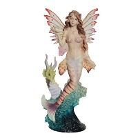 Lionfish Mermaid with Seahorse Dragon Statue 11インチ高