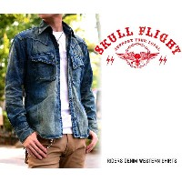 "【SKULL FLIGHT】RIDERS DENIM WESTERN SHIRTS ""背面刺繍なし"" ダメージ加工★REAL DEAL"