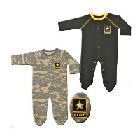 2pk Acu Army Baby Crawlers / Sleepers Black & Camoflauge (9-12 Months) by Jolt TC