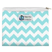 Planet Wise Zipper Sandwich Bag, Teal Chevron by Planet Wise