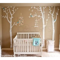 Three birch trees and birdcage - White, Light pink and Ice Blue - Beautiful Tree Wall Decals for...